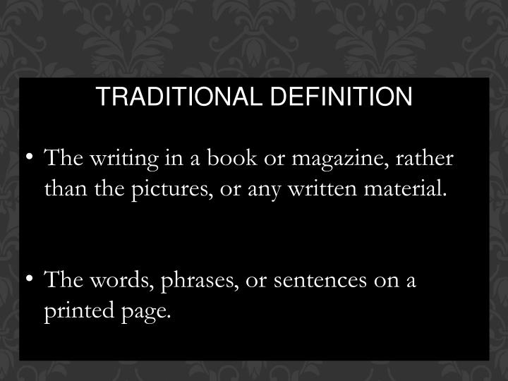 TRADITIONAL DEFINITION