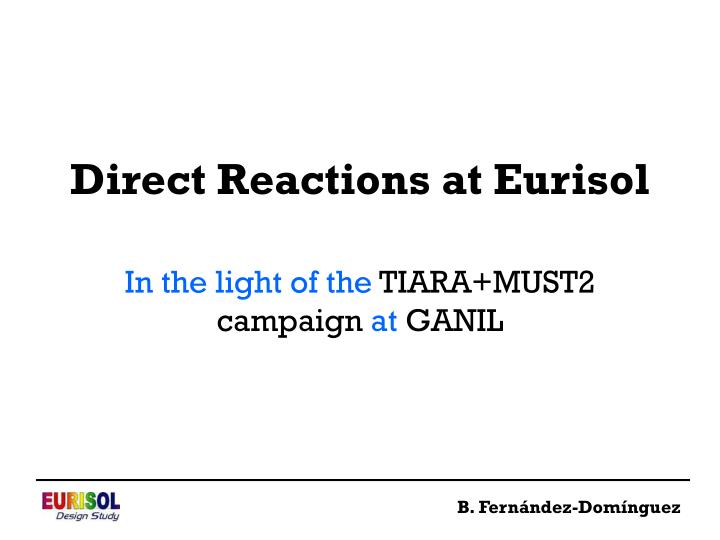 Direct reactions at eurisol