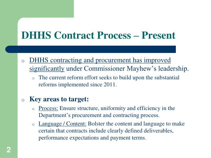 DHHS Contract Process – Present