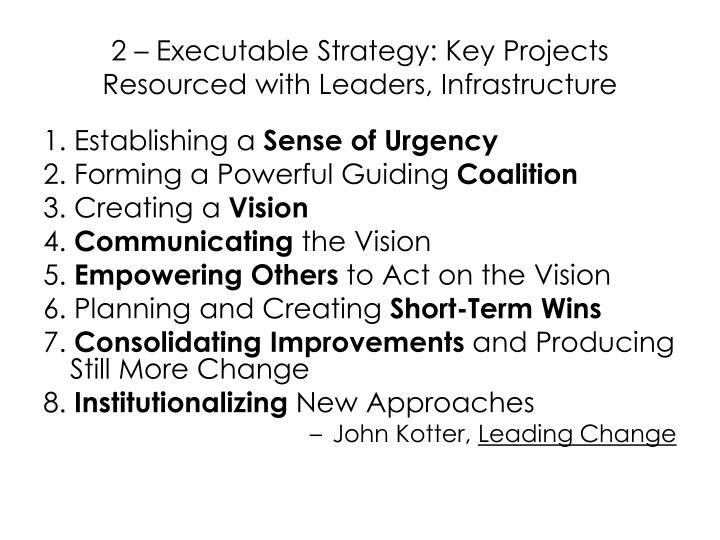 2 – Executable Strategy: Key Projects Resourced with Leaders, Infrastructure