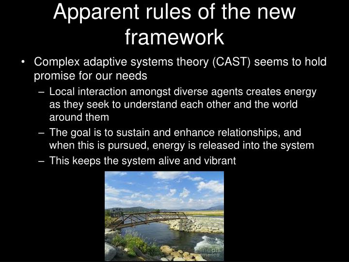 Apparent rules of the new framework