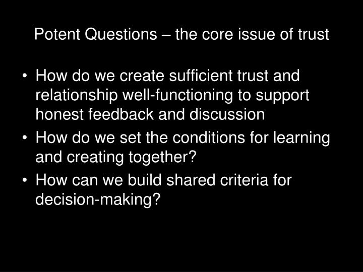 Potent Questions – the core issue of trust