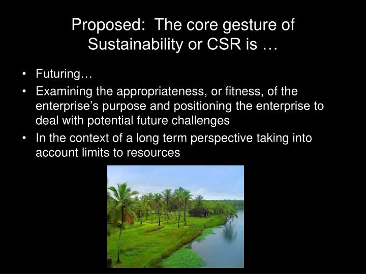 Proposed:  The core gesture of Sustainability or CSR is …