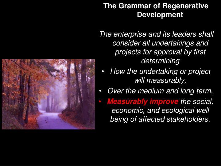 The Grammar of Regenerative Development