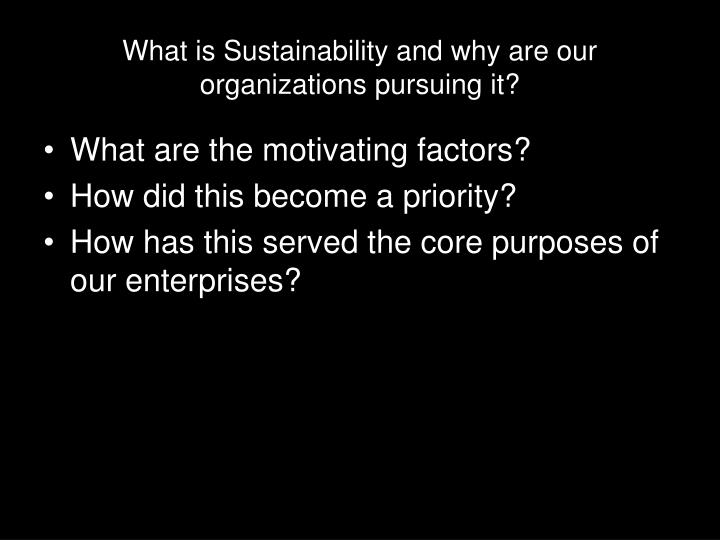 What is Sustainability and why are our organizations pursuing it?