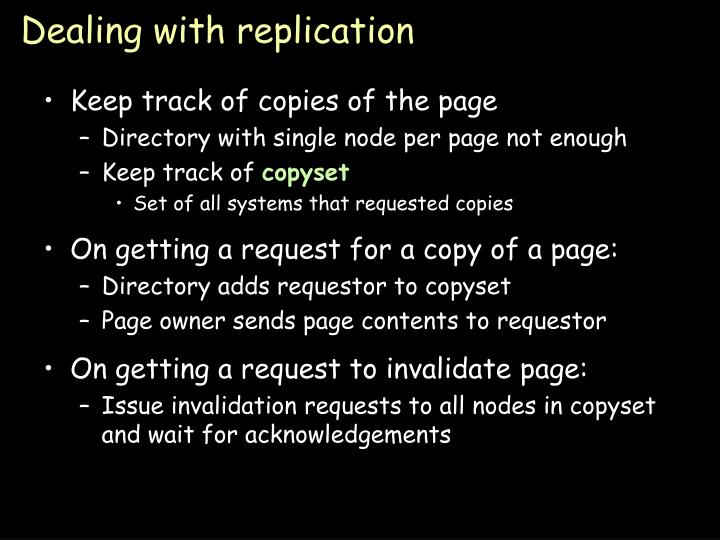 Dealing with replication