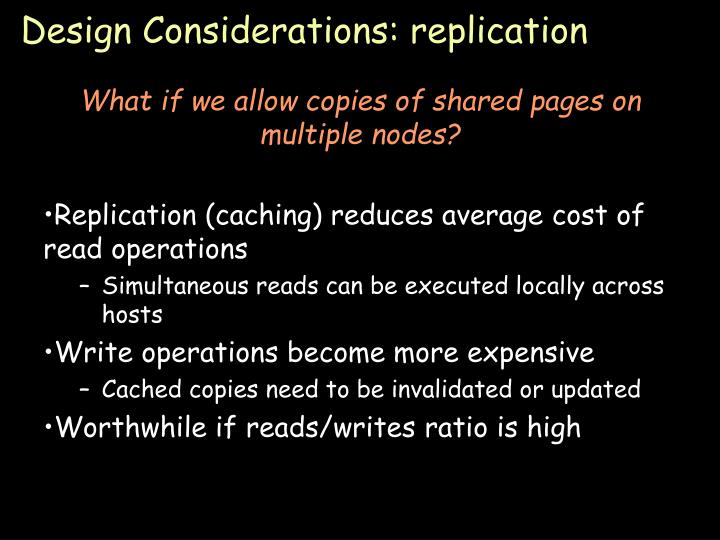 Design Considerations: replication