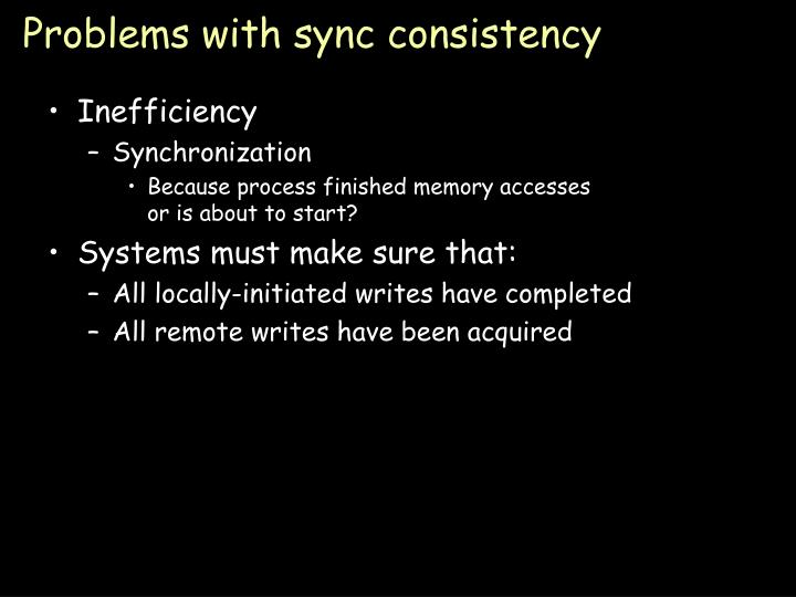 Problems with sync consistency