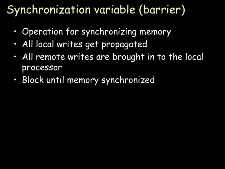 Synchronization variable (barrier)