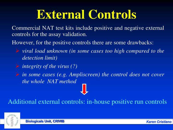 Commercial NAT test kits include positive and negative external controls for the assay validation.
