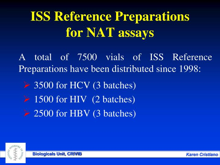 A total of 7500 vials of ISS Reference Preparations have been distributed since 1998: