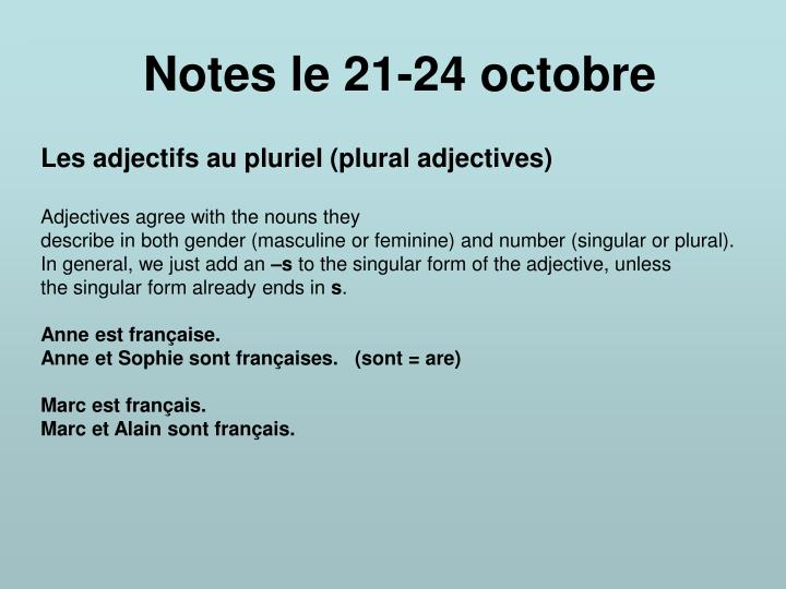 Notes le 21 24 octobre