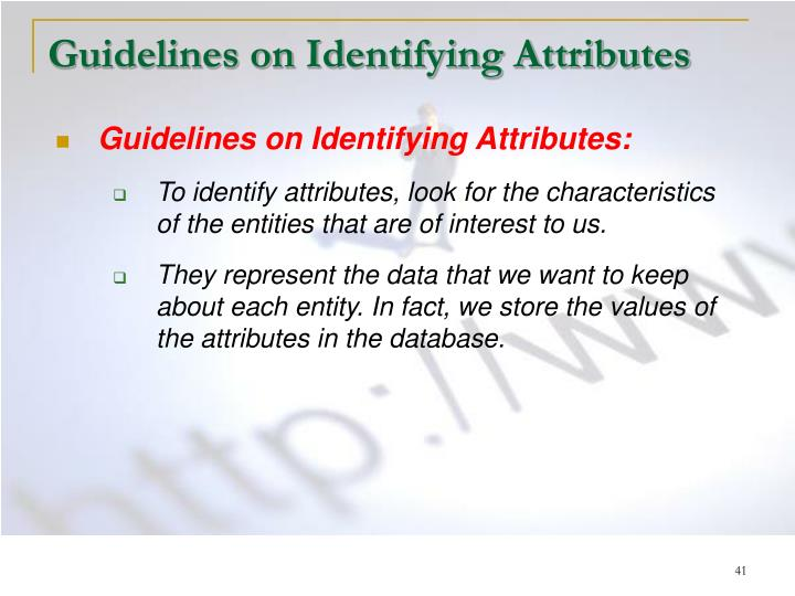 Guidelines on Identifying Attributes