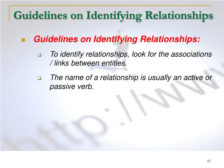 Guidelines on Identifying Relationships