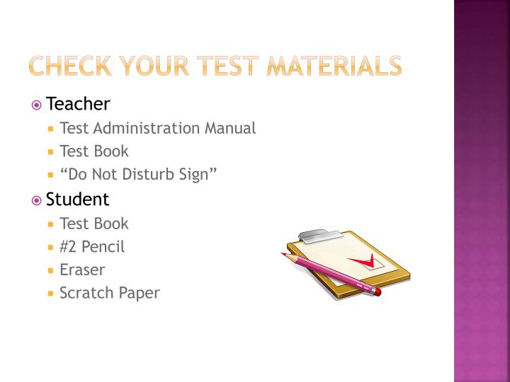 Check Your Test Materials