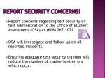 report security concerns