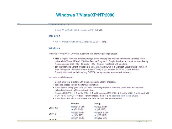 Windows 7/Vista/XP/NT/2000
