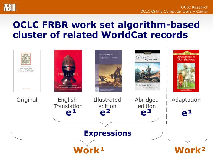 OCLC FRBR work set algorithm-based  cluster of related WorldCat records