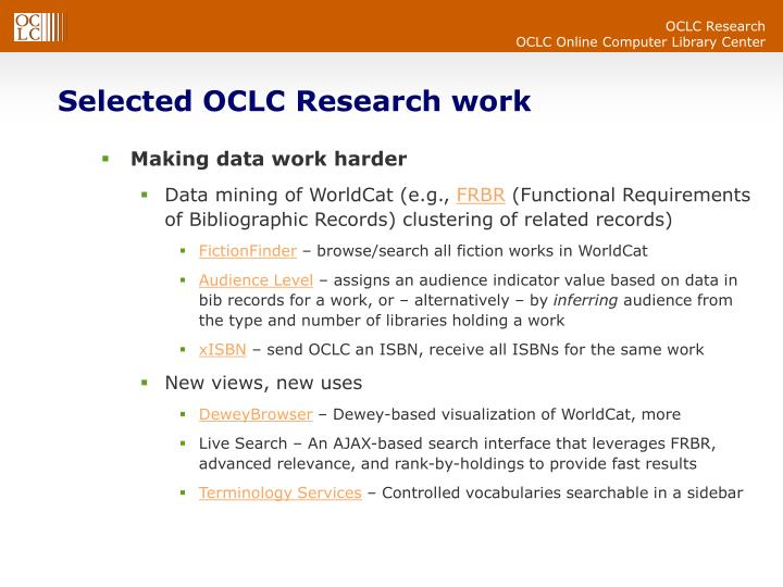 Selected OCLC Research work