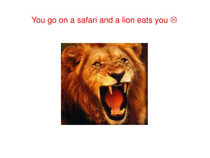 You go on a safari and a lion eats you