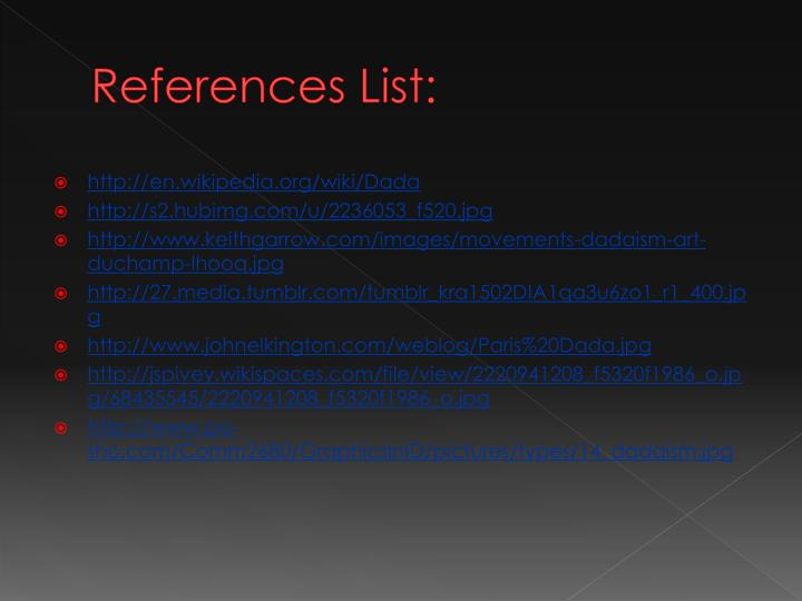 References List: