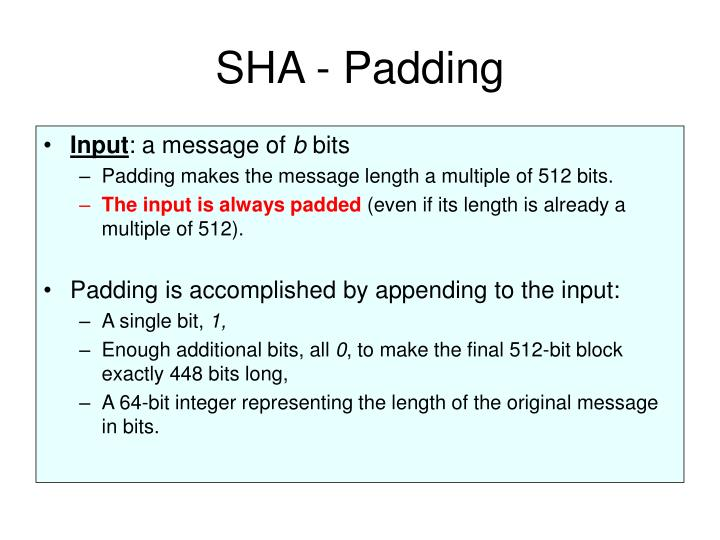 SHA - Padding
