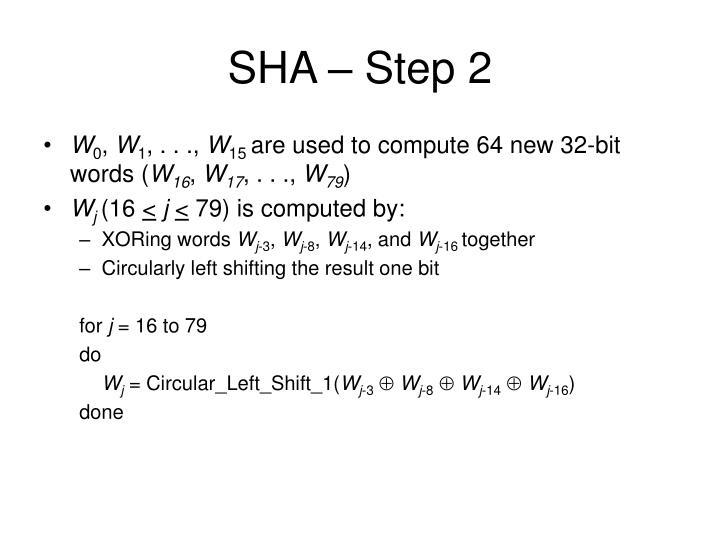 SHA – Step 2