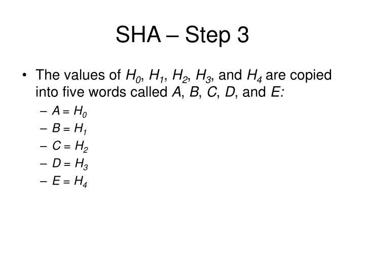SHA – Step 3