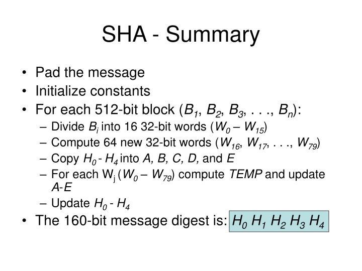 SHA - Summary