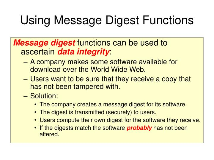 Using Message Digest Functions