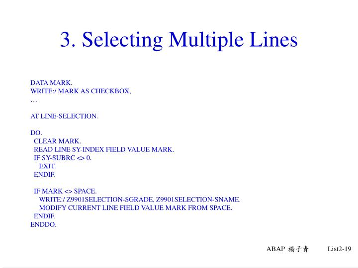 3. Selecting Multiple Lines