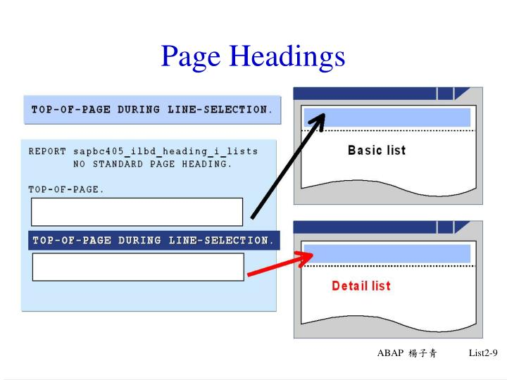 Page Headings