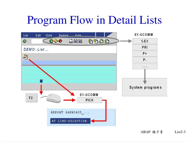 Program flow in detail lists