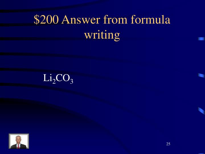 $200 Answer from formula writing