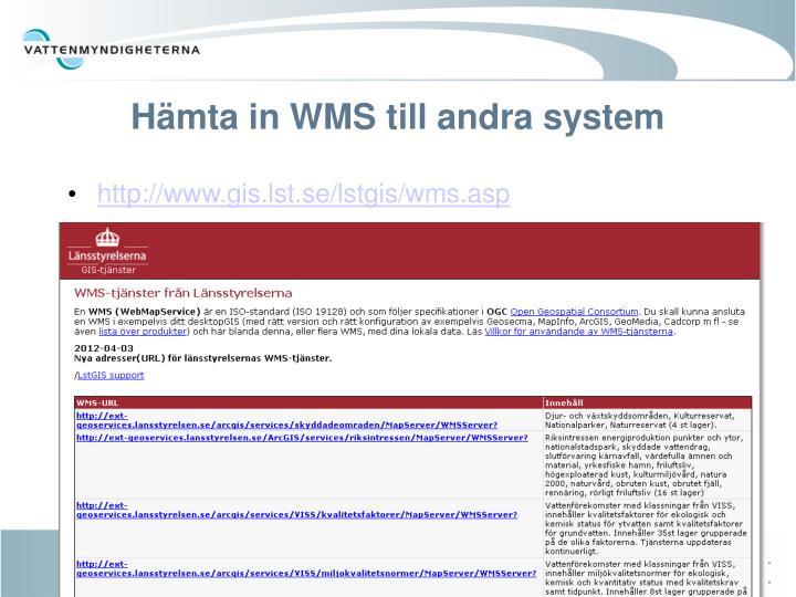 Hämta in WMS till andra system