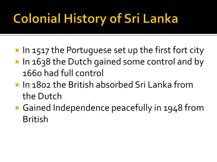 Colonial History of Sri Lanka