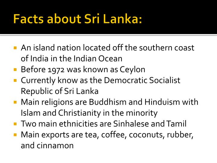 Facts about sri lanka