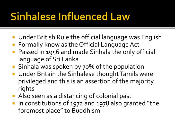 Sinhalese Influenced Law