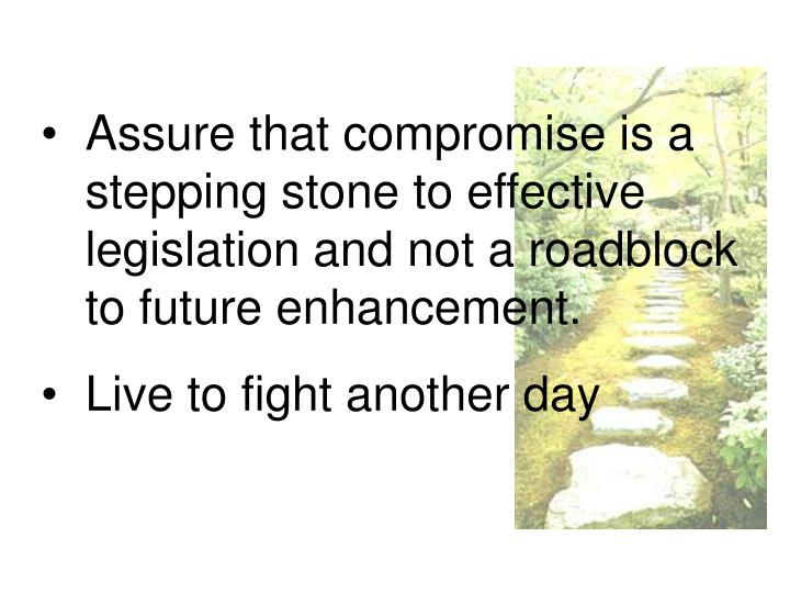 Assure that compromise is a stepping stone to effective legislation and not a roadblock to future en...
