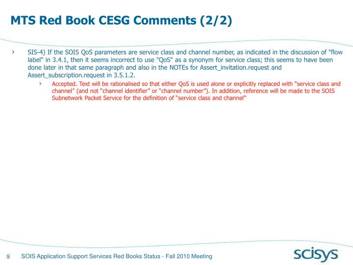 MTS Red Book CESG Comments (2/2)