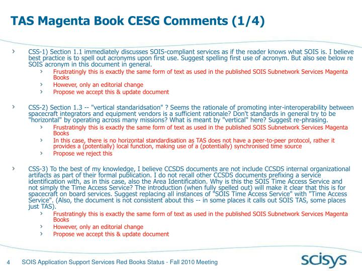 TAS Magenta Book CESG Comments (1/4)