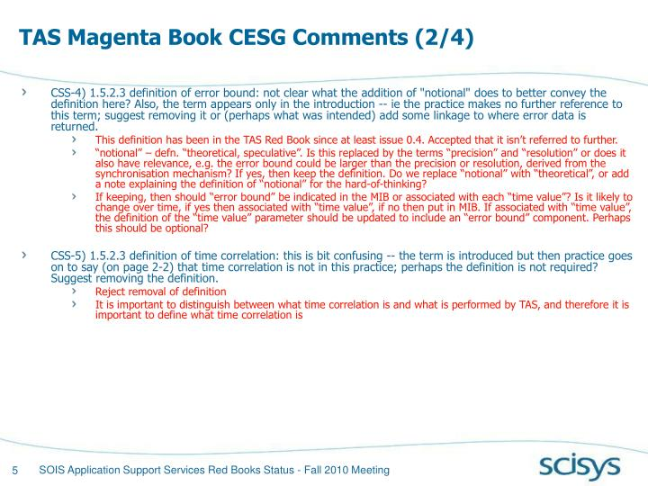 TAS Magenta Book CESG Comments (2/4)