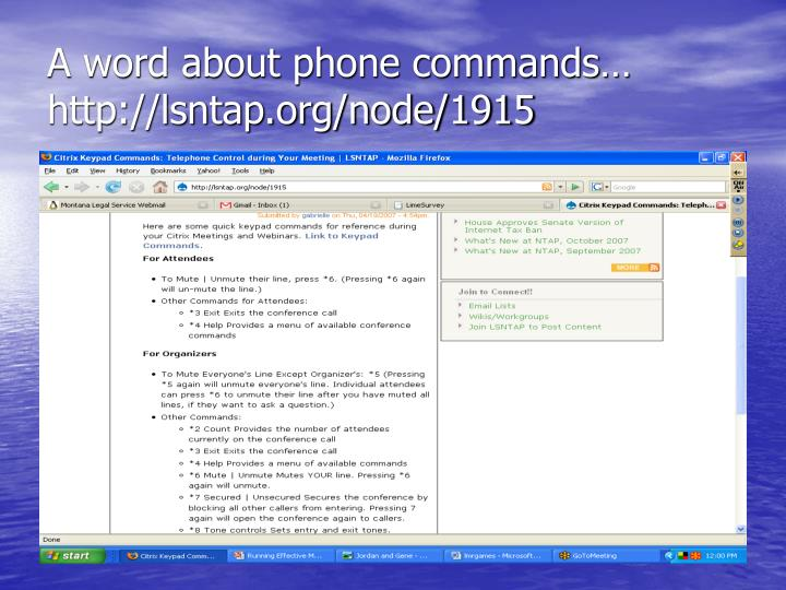 A word about phone commands… http://lsntap.org/node/1915