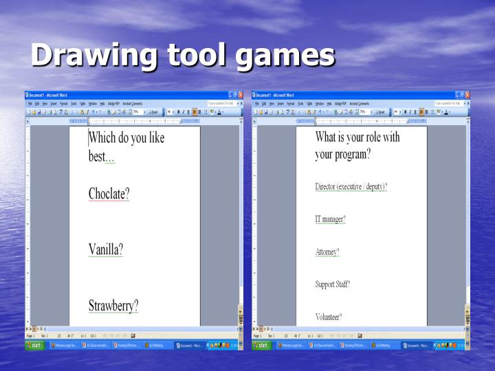 Drawing tool games
