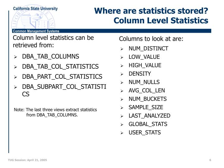 Where are statistics stored?