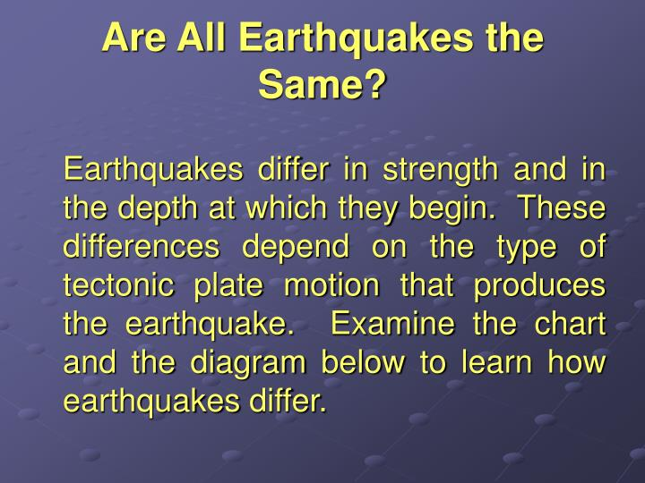 Are All Earthquakes the Same?