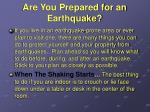 are you prepared for an earthquake
