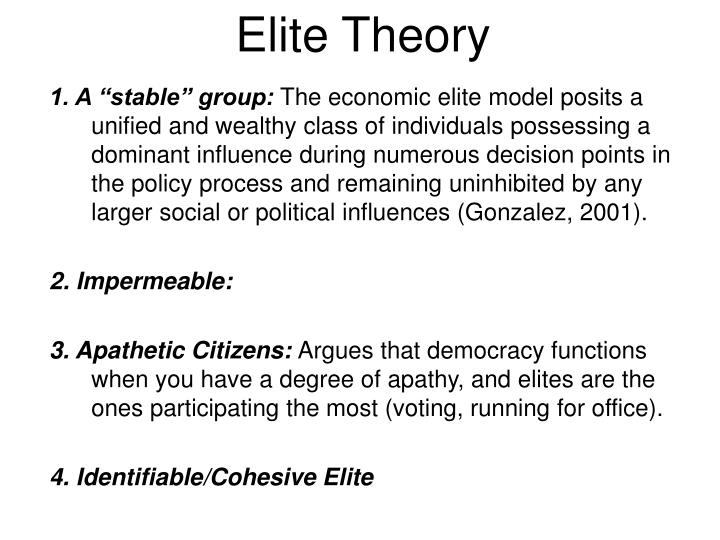elitist approach Further reflections on the elitist theory of democracy robert a dahl yale university i an interest in the roles, functions, contribu.