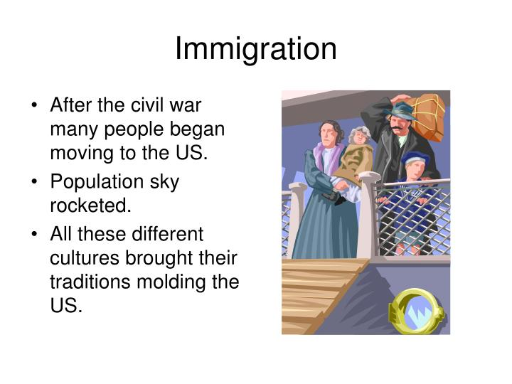 After the civil war many people began moving to the US.