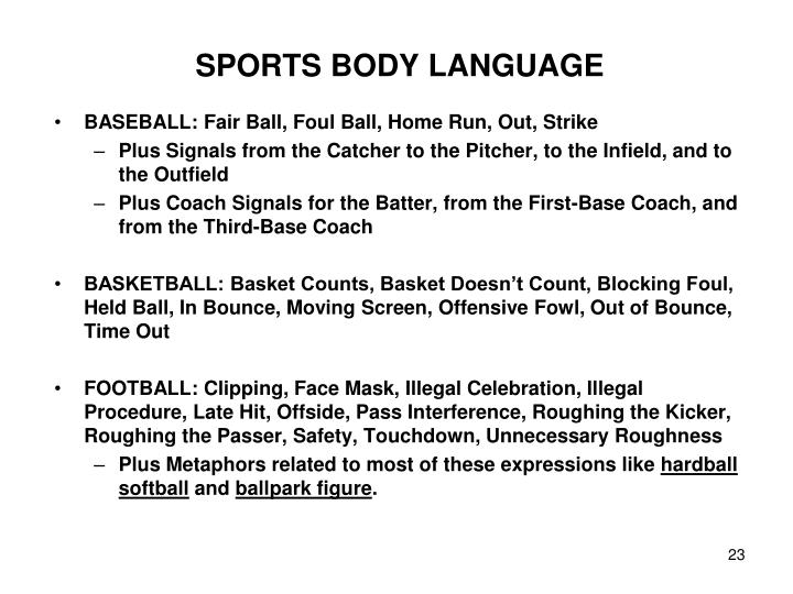 SPORTS BODY LANGUAGE